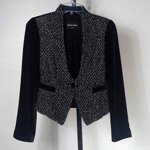 Emporio Armani Black Velvet Tweed Jacket Italy S